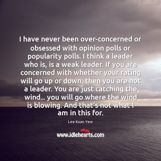 Image, I have never been over-concerned or obsessed with opinion polls or popularity