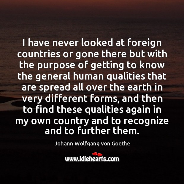 I have never looked at foreign countries or gone there but with Johann Wolfgang von Goethe Picture Quote
