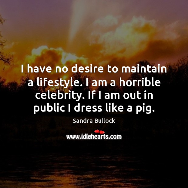 I have no desire to maintain a lifestyle. I am a horrible Sandra Bullock Picture Quote
