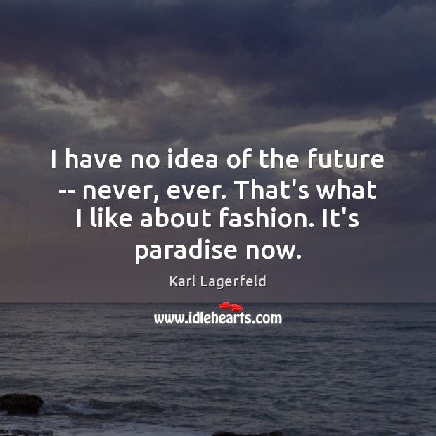 I have no idea of the future — never, ever. That's what Karl Lagerfeld Picture Quote
