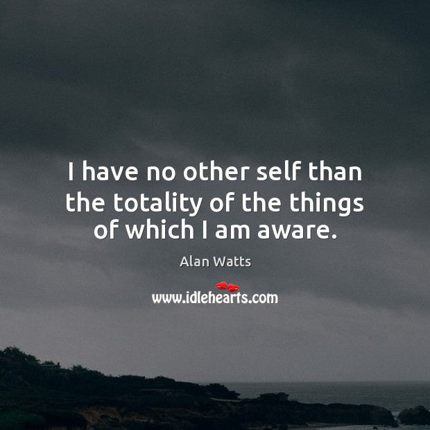 I have no other self than the totality of the things of which I am aware. Alan Watts Picture Quote