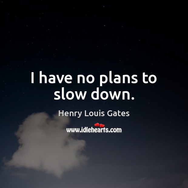 I have no plans to slow down. Henry Louis Gates Picture Quote