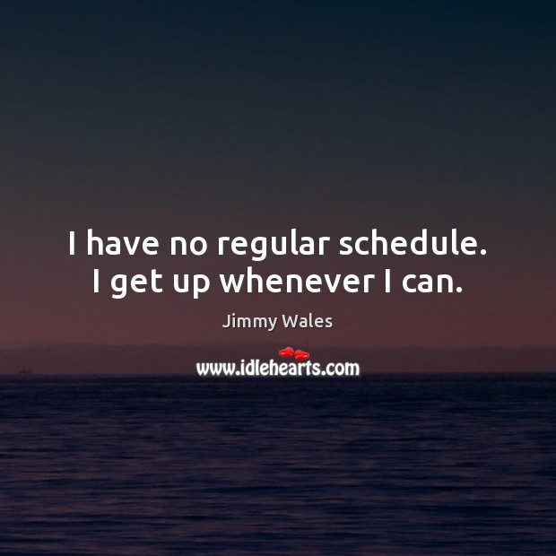 I have no regular schedule. I get up whenever I can. Jimmy Wales Picture Quote