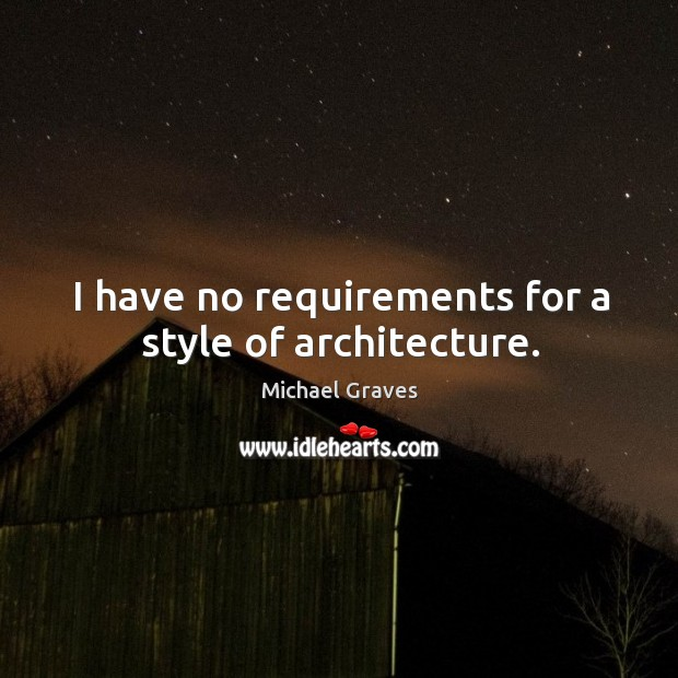 I have no requirements for a style of architecture. Image