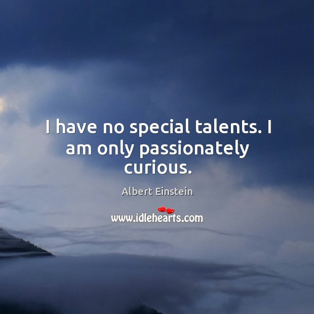 Image, I have no special talents. I am only passionately curious.