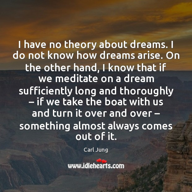 I have no theory about dreams. I do not know how dreams Carl Jung Picture Quote