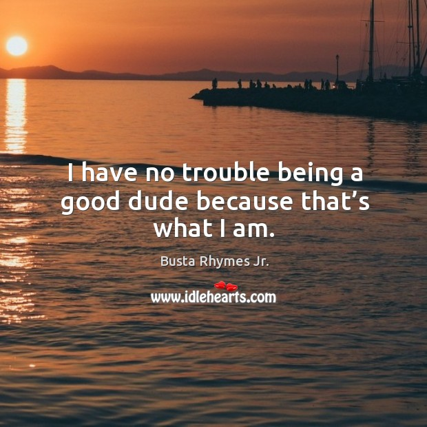 Image, I have no trouble being a good dude because that's what I am.