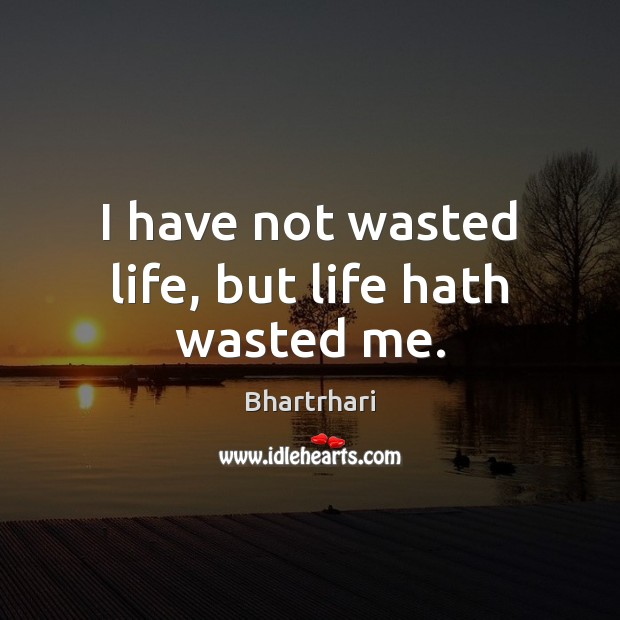 Image, I have not wasted life, but life hath wasted me.
