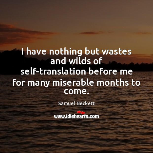 I have nothing but wastes and wilds of self-translation before me for Samuel Beckett Picture Quote
