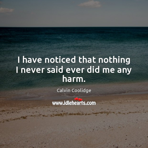 Image, I have noticed that nothing I never said ever did me any harm.