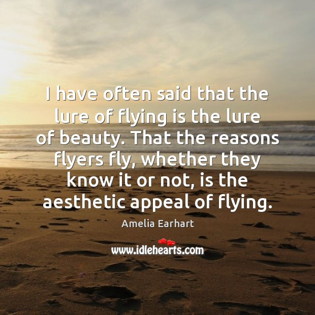 Image, I have often said that the lure of flying is the lure