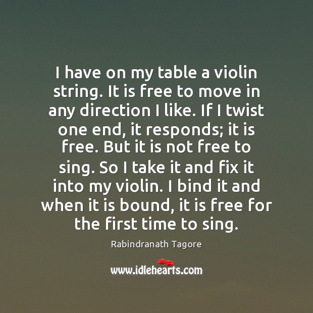 I have on my table a violin string. It is free to Rabindranath Tagore Picture Quote