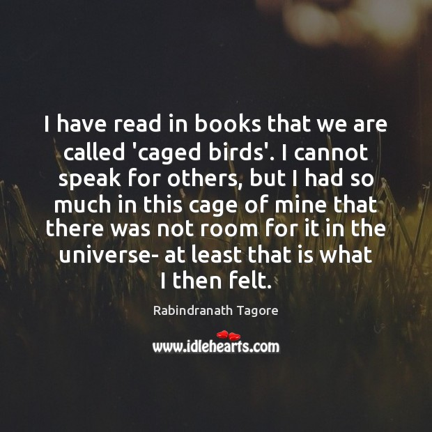 Image, I have read in books that we are called 'caged birds'. I