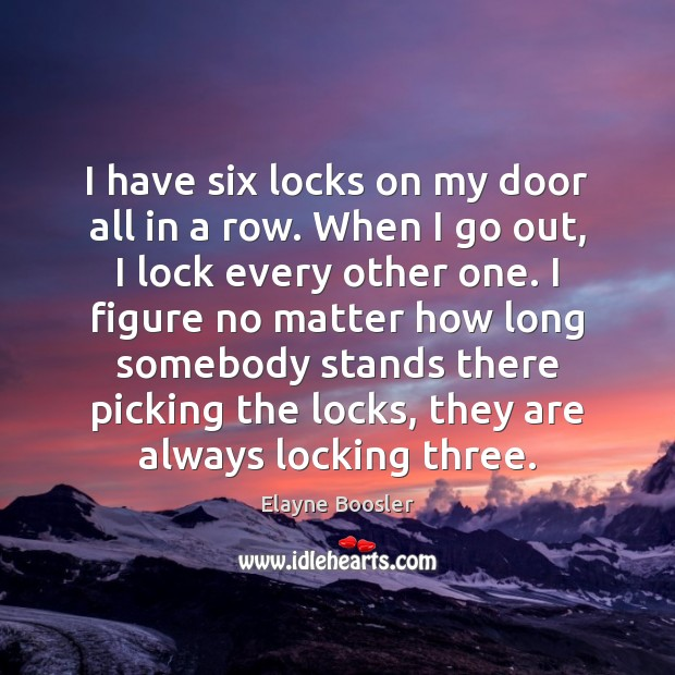 I have six locks on my door all in a row. When Elayne Boosler Picture Quote