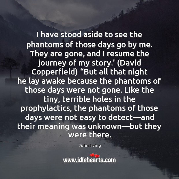I have stood aside to see the phantoms of those days go John Irving Picture Quote