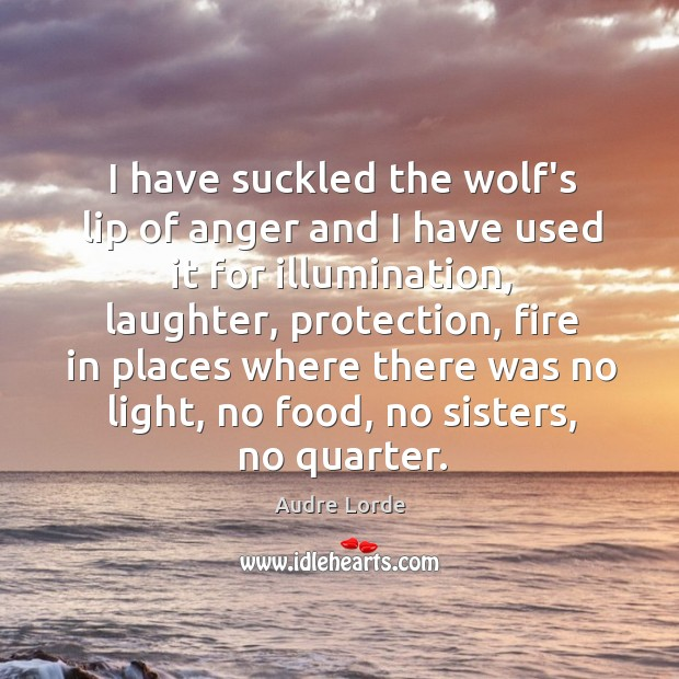 I have suckled the wolf's lip of anger and I have used Audre Lorde Picture Quote