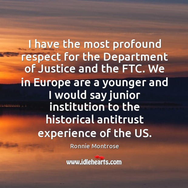 Image, I have the most profound respect for the department of justice and the ftc. We in europe are a younger and