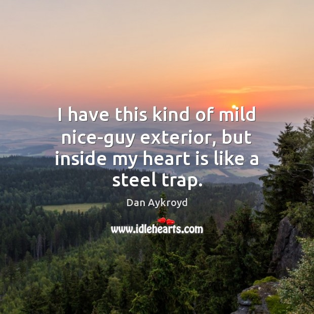 Image, I have this kind of mild nice-guy exterior, but inside my heart is like a steel trap.