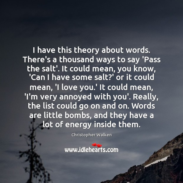 Image, I have this theory about words. There's a thousand ways to say
