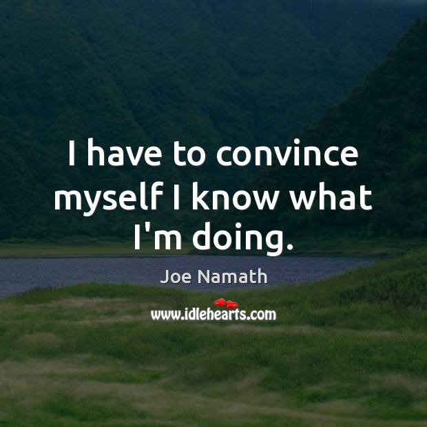 I have to convince myself I know what I'm doing. Joe Namath Picture Quote