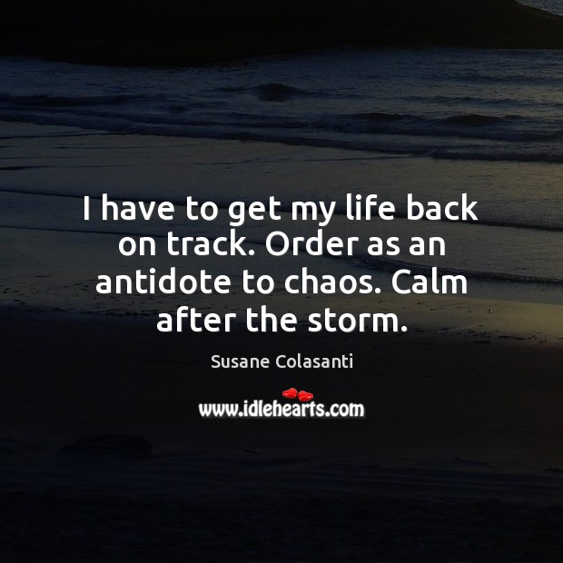 Image, I have to get my life back on track. Order as an antidote to chaos. Calm after the storm.