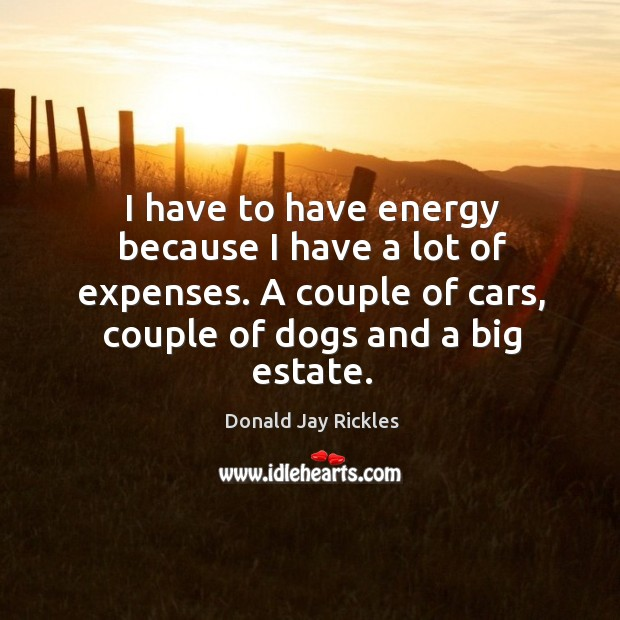 I have to have energy because I have a lot of expenses. A couple of cars, couple of dogs and a big estate. Image