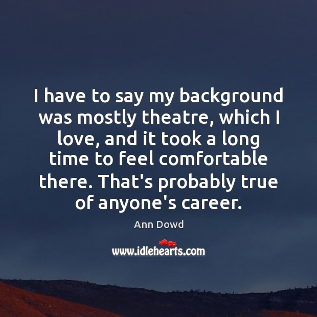 Image, I have to say my background was mostly theatre, which I love,