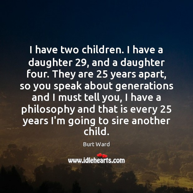Image, I have two children. I have a daughter 29, and a daughter four.