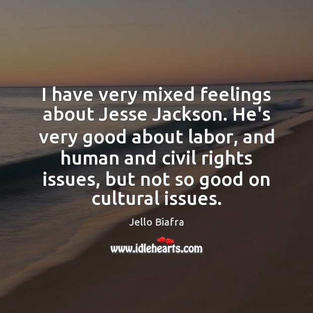 I have very mixed feelings about Jesse Jackson. He's very good about Jello Biafra Picture Quote