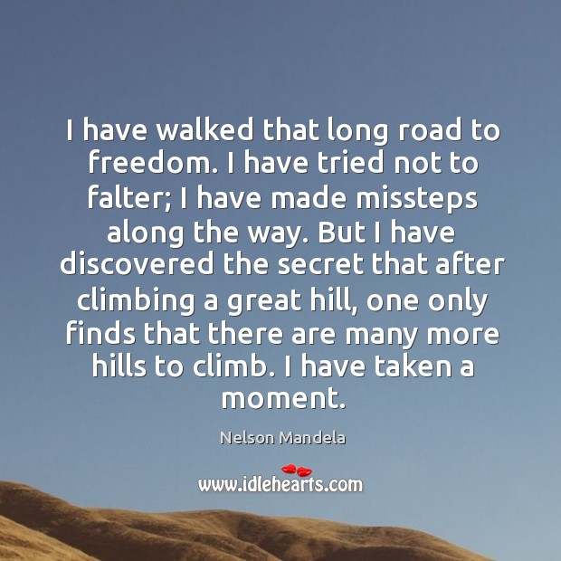 I have walked that long road to freedom. I have tried not to falter; Image