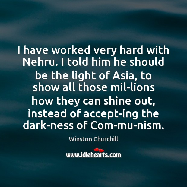 Image, I have worked very hard with Nehru. I told him he should