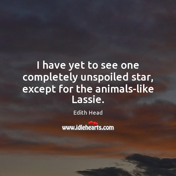 I have yet to see one completely unspoiled star, except for the animals-like Lassie. Edith Head Picture Quote
