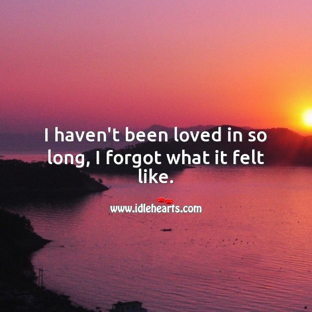 I haven't been loved in so long, I forgot what it felt like. Sad Love Quotes Image