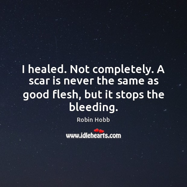 I healed. Not completely. A scar is never the same as good Robin Hobb Picture Quote