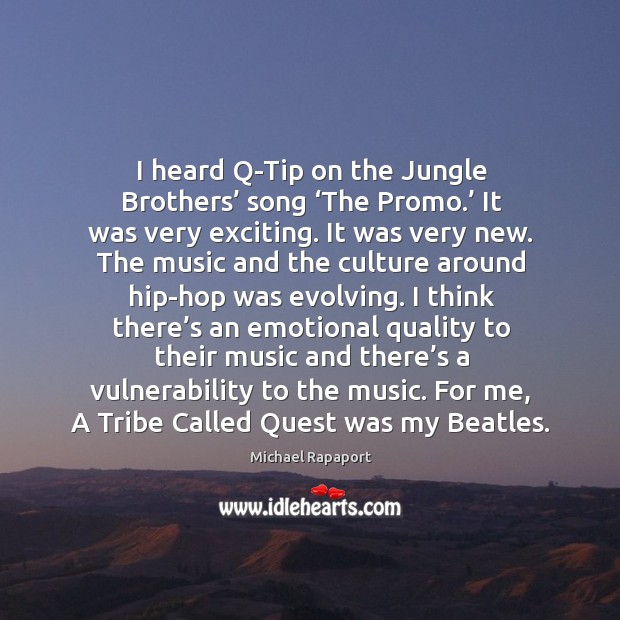 I heard q-tip on the jungle brothers' song 'the promo.' it was very exciting. It was very new. Image
