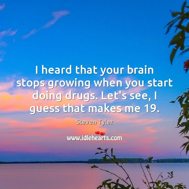 I heard that your brain stops growing when you start doing drugs. Steven Tyler Picture Quote