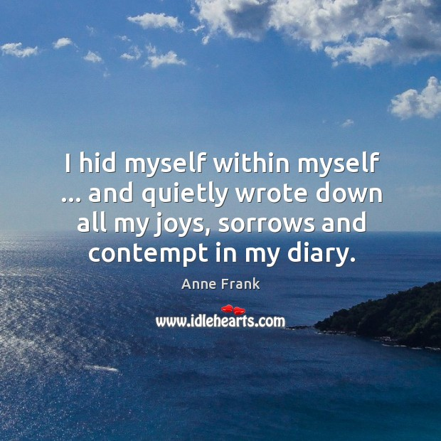 Image, I hid myself within myself … and quietly wrote down all my joys,