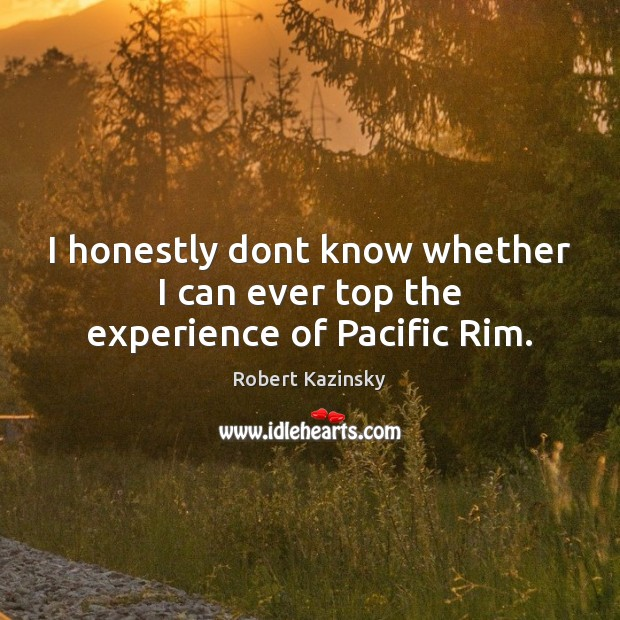 I honestly dont know whether I can ever top the experience of Pacific Rim. Robert Kazinsky Picture Quote