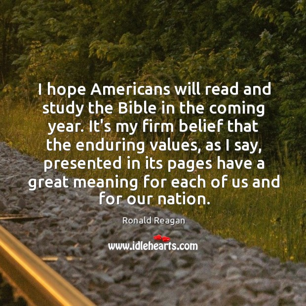 Image, I hope Americans will read and study the Bible in the coming