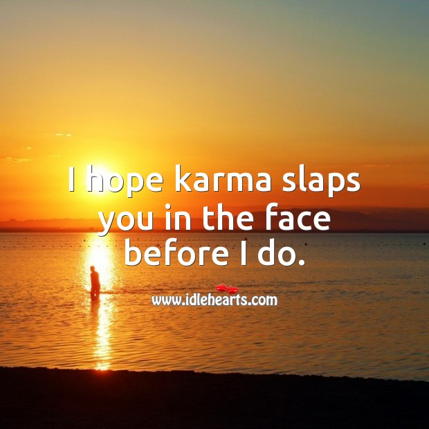 I hope karma slaps you in the face before I do. Funny Quotes Image