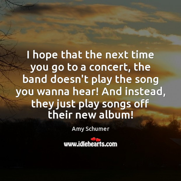 Image, I hope that the next time you go to a concert, the
