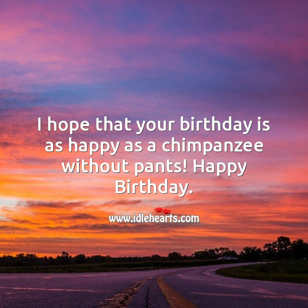 Image, I hope that your birthday is as happy as a chimpanzee without pants!