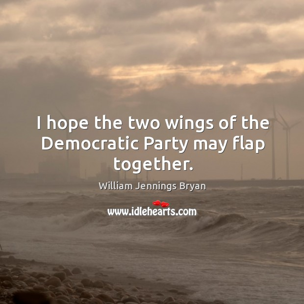 Image, I hope the two wings of the democratic party may flap together.