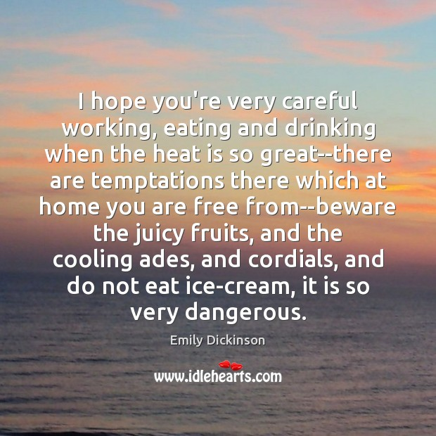 I hope you're very careful working, eating and drinking when the heat Emily Dickinson Picture Quote