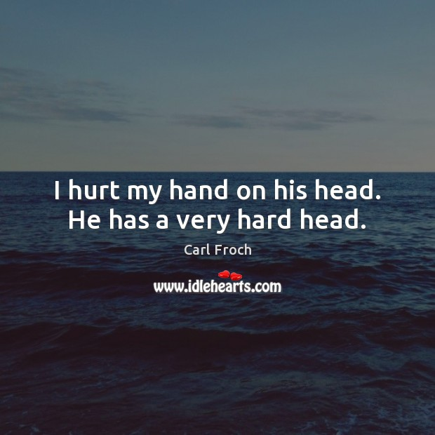 Image, I hurt my hand on his head. He has a very hard head.