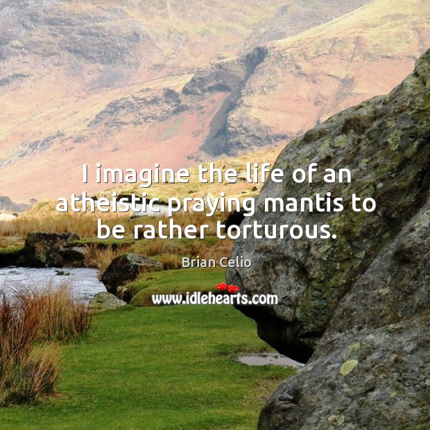 I imagine the life of an atheistic praying mantis to be rather torturous. Brian Celio Picture Quote
