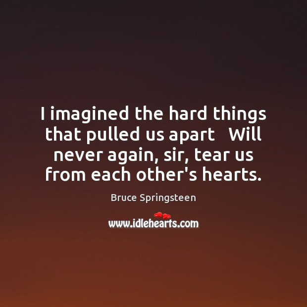 I imagined the hard things that pulled us apart   Will never again, Image