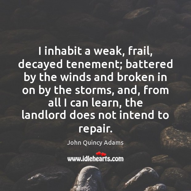 I inhabit a weak, frail, decayed tenement; battered by the winds and John Quincy Adams Picture Quote
