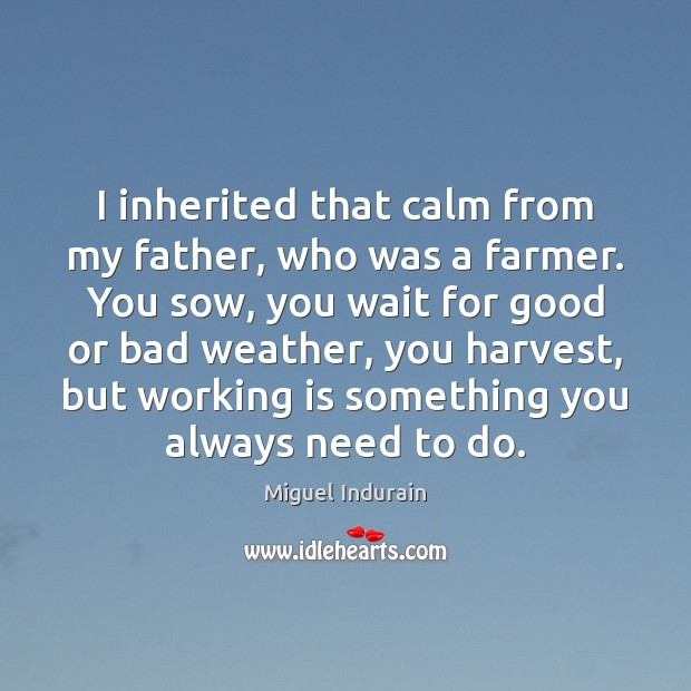 I inherited that calm from my father, who was a farmer. You Miguel Indurain Picture Quote