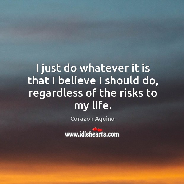 I just do whatever it is that I believe I should do, regardless of the risks to my life. Image